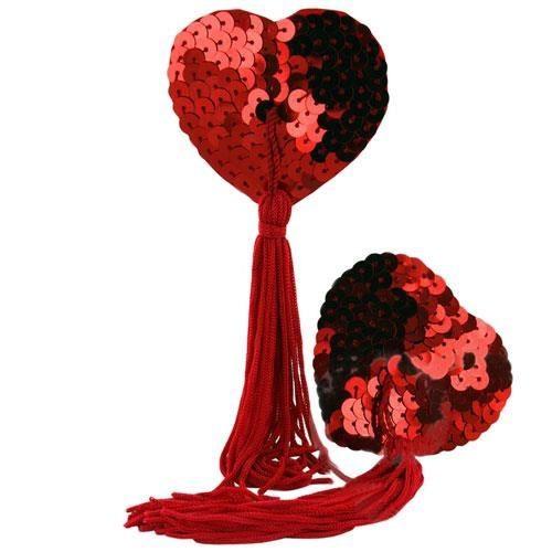 Love heart nipple tassles- rød