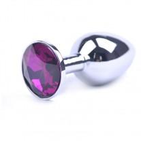Love Plug - Liten Butt Plug i stål m/ lilla rubin
