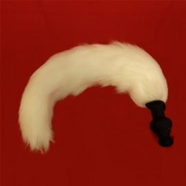 Buttplug i silikon med hvit hale