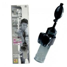 Cylinder Grip Action Penispumpe med vibrator